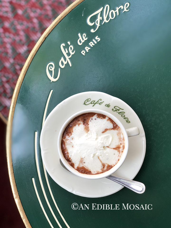 Overhead View of Drinking Chocolate aka Chocolat Chaud at Cafe de Flore