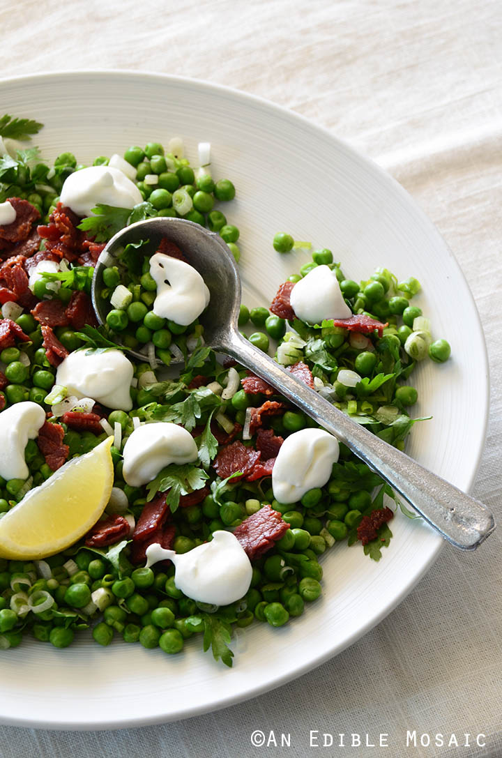 Sweet Pea Salad with Scallion, Bacon, and Lemon Cream Dressing Recipe 1