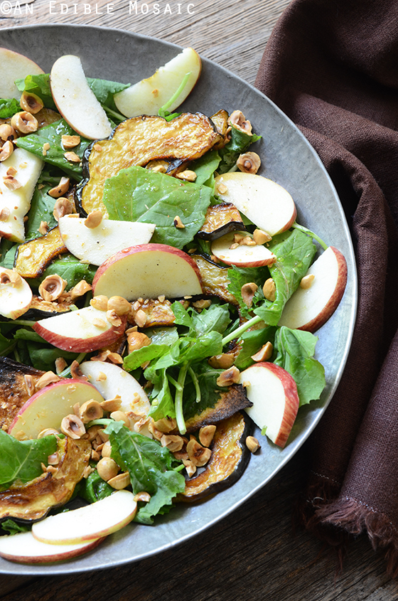 Harvest Kale Salad with Roasted Acorn Squash, Toasted Hazelnuts, and Apple-Cinnamon Dressing 2