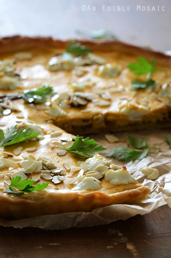 Savory Pumpkin, Ricotta, and Caramelized Onion Tart with Goat Cheese 2