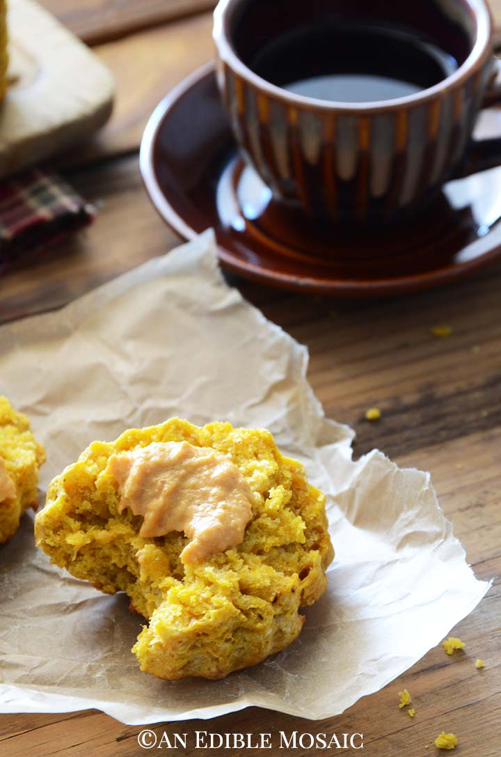 Close Up of Spiced Pumpkin Scones Recipe Showing Tender Scone Texture
