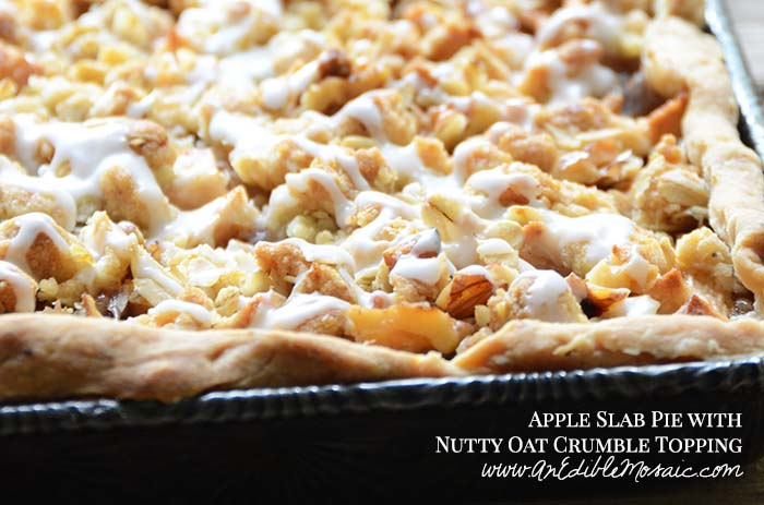 Apple Slab Pie with Nutty Oat Crumble Topping with Description
