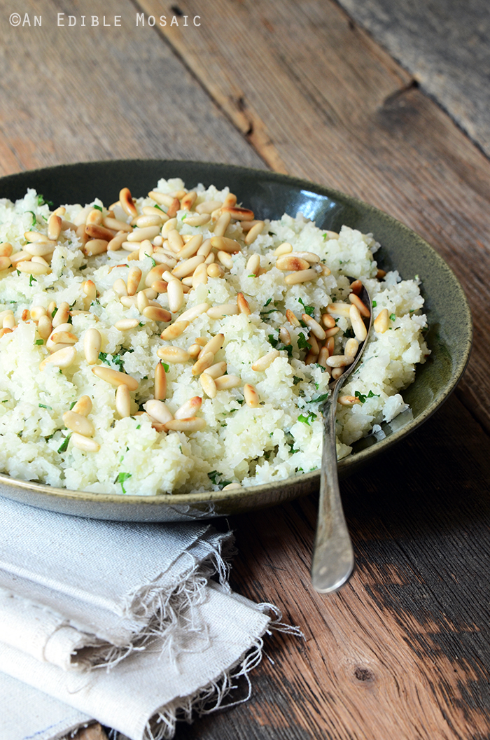 "Low-Carb Herbed Cauliflower ""Rice"" with Pine Nuts {Paleo} 2"