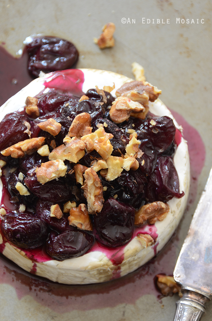 Baked Brie with Warm Honeyed Grapes and Walnuts