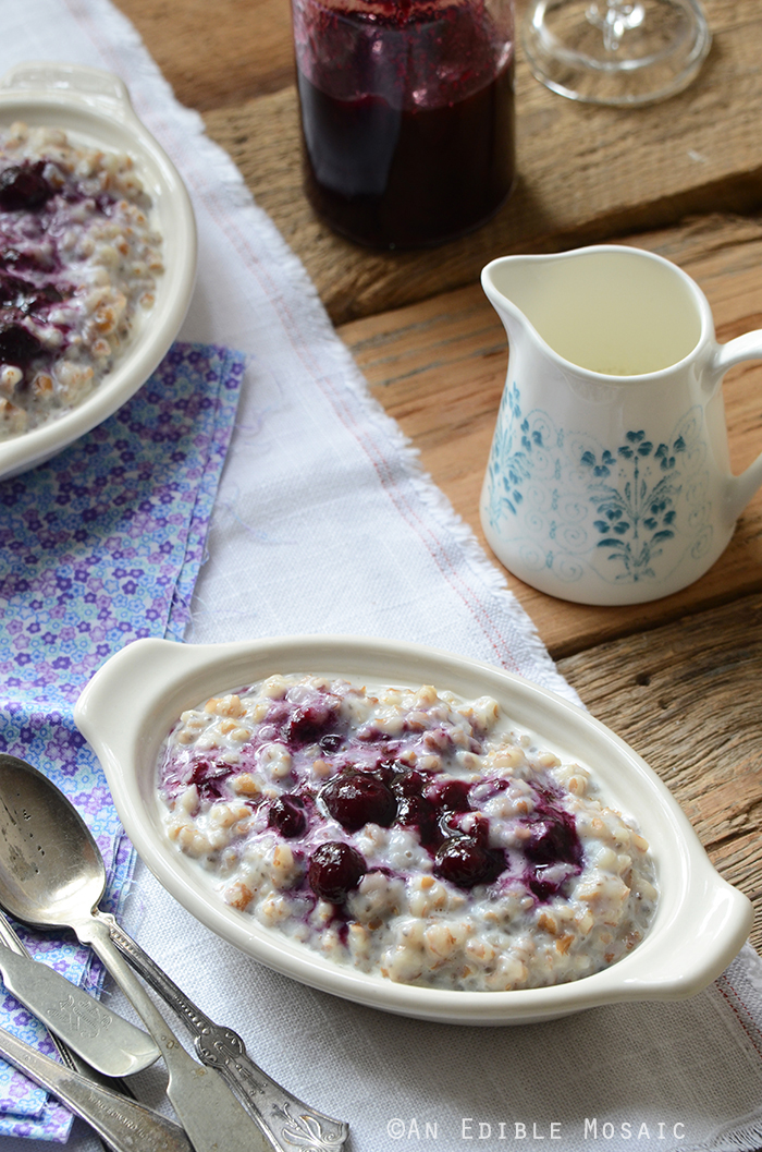 Creamy Wheat Berry Porridge with Gingered Blueberry Topping {Vegan} 2
