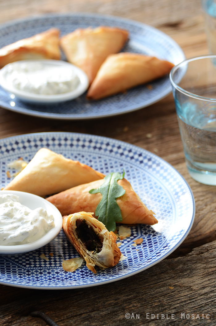 Crispy Baked Kale Phyllo Triangles with 3-Ingredient Feta Yogurt Dip 2