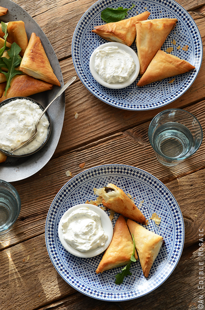 Crispy Baked Kale Phyllo Triangles with 3-Ingredient Feta Yogurt Dip 3
