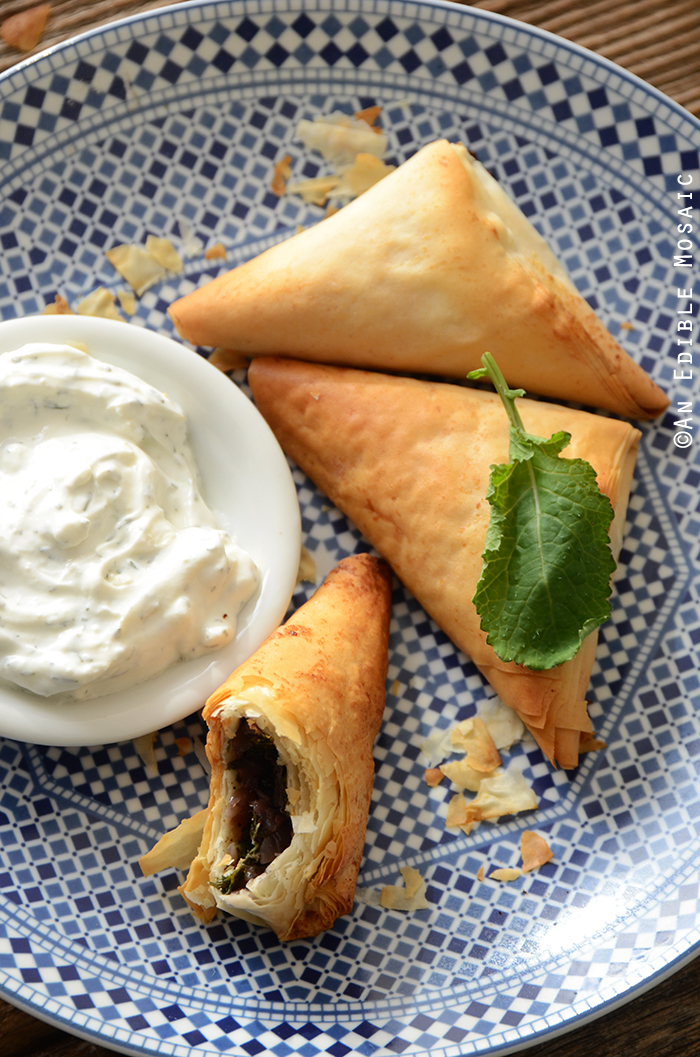 Crispy Baked Kale Phyllo Triangles with 3-Ingredient Feta Yogurt Dip 4