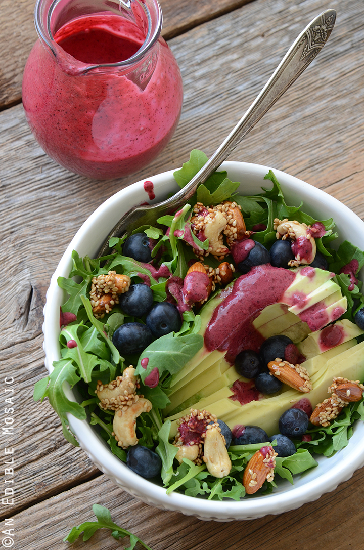 Arugala Breakfast Salad with Stovetop Maple Nut Brittle and Blueberry Lemon Dressing 2