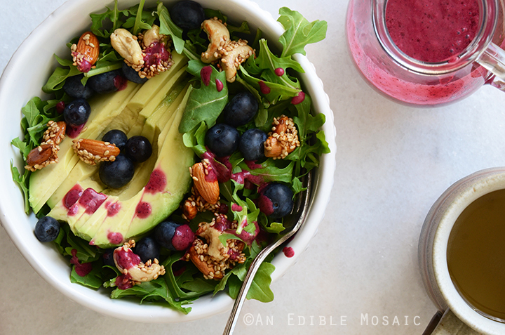 Arugala Breakfast Salad with Stovetop Maple Nut Brittle and Blueberry Lemon Dressing 3