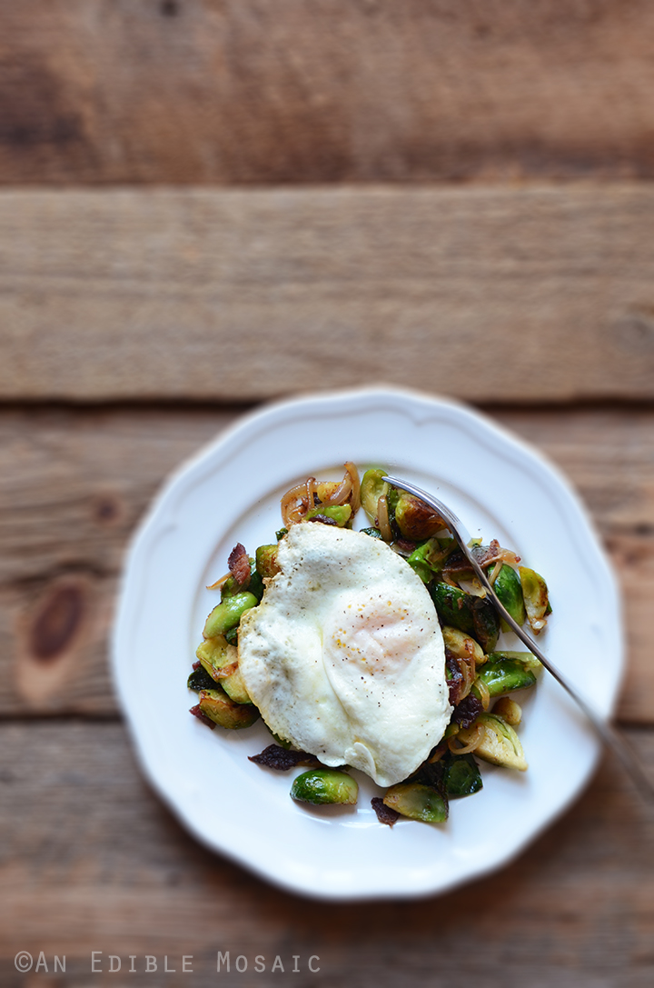 Brussels Sprout and Bacon Hash with Fried Egg 2