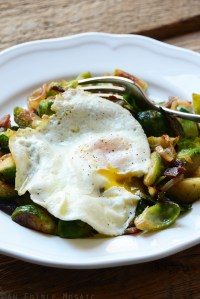 Brussels Sprout and Bacon Hash with Fried Egg {Paleo}