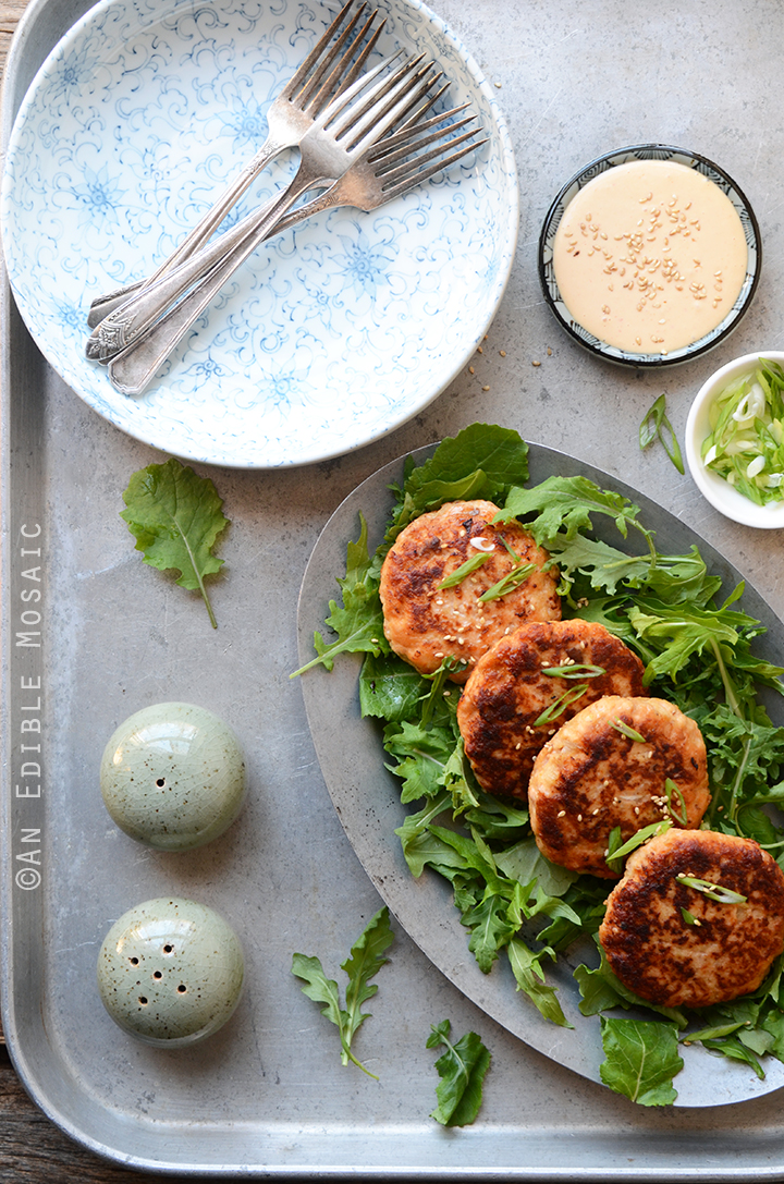 Hoisin Salmon Burgers with Sweet and Spicy Ginger Mayo