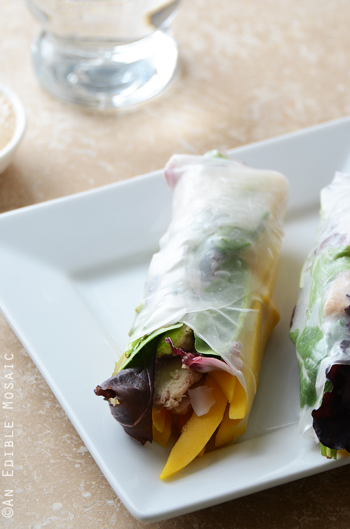 Mango Coconut Chicken Rolls with Spring Mix and Sesame-Ginger Sauce 2