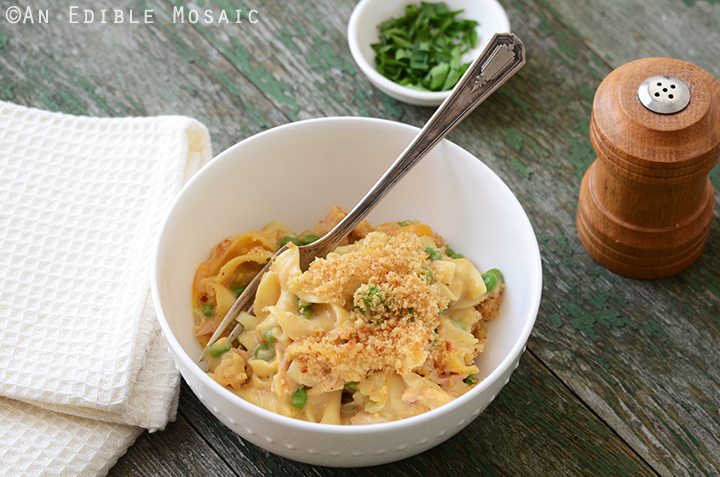 Old Bay-Spiced Cheesy Tuna Noodle Casserole with Buttered Toast Topping 4