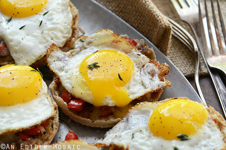 Cheesy English Muffins with Smoky Balsamic Red Pepper Compote and Fried Eggs 5