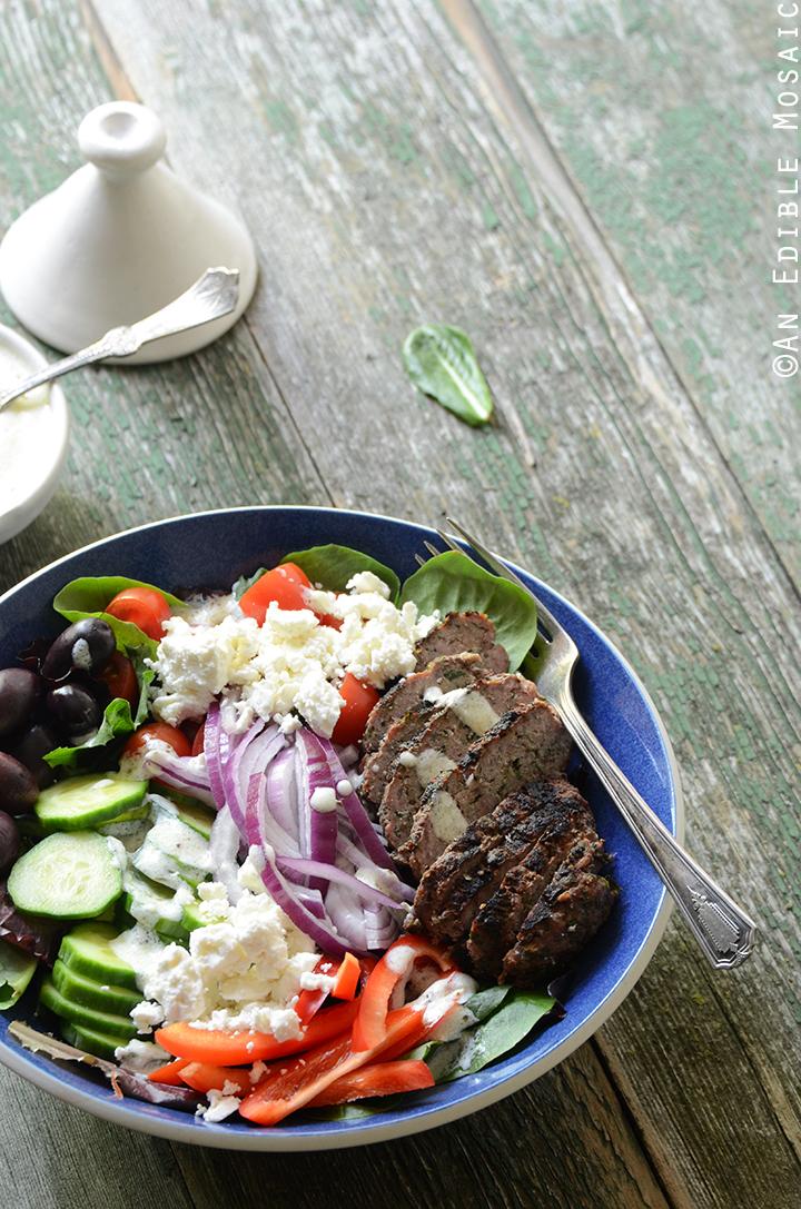 Greek Salad Bowls with Spiced Lamb Burgers 2