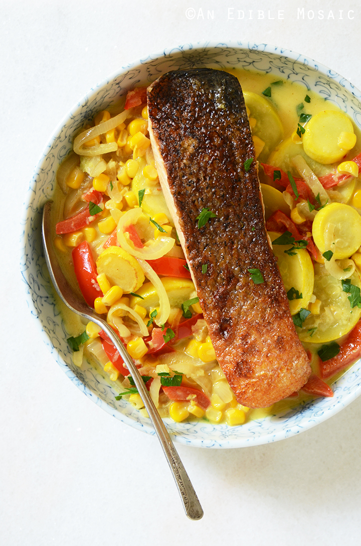 Food 1 2016 7 17 Salmon With Summer Squash Vegetables >> 20 Minute Thai Inspired Summer Vegetable Curry With Seared Salmon Recipe