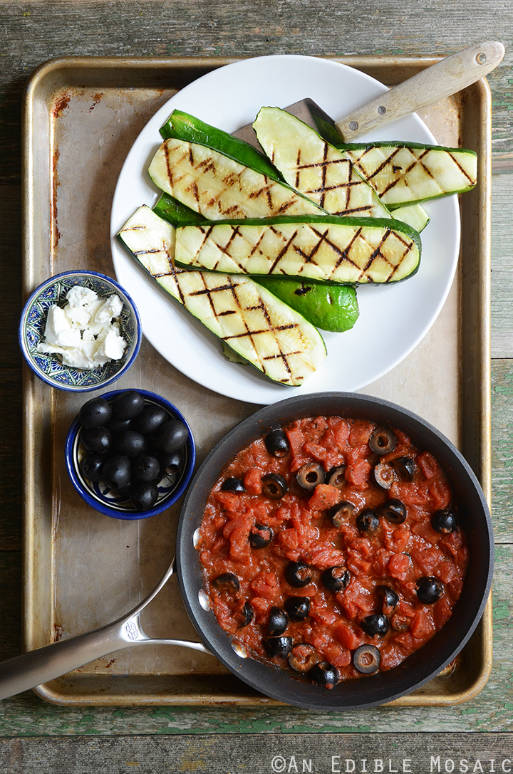 Grilled Zucchini with Quick Tomato-Olive Sauce and Feta Cheese Components