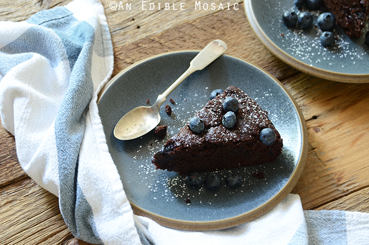 Dark Chocolate Olive Oil Cake with Blueberries and Ginger 4