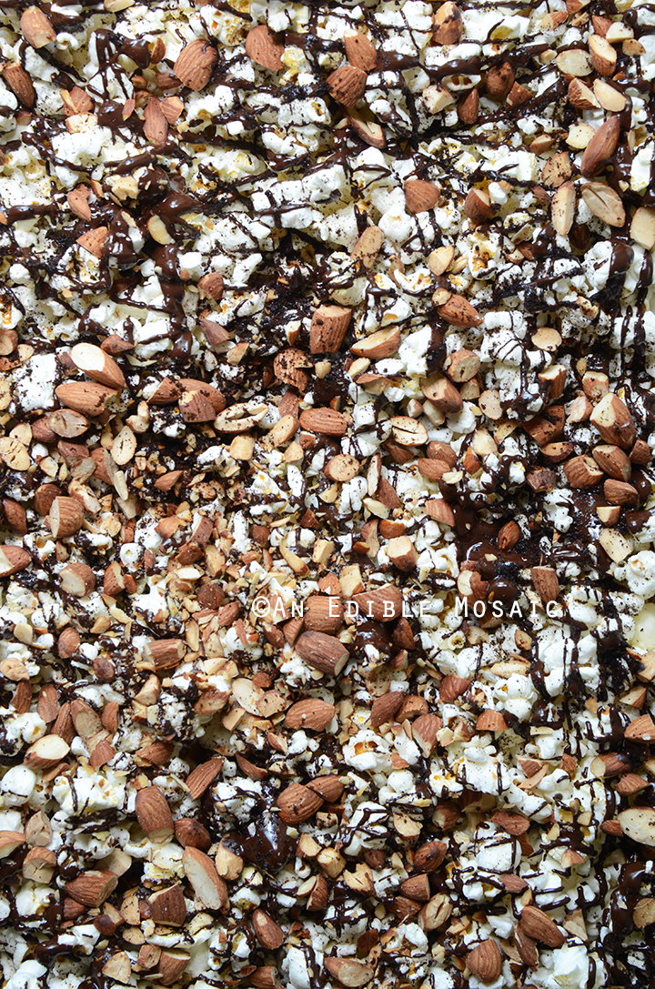 Easy Chocolate-Drizzled Coffee Popcorn with Toasted Almonds 2
