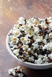 Easy Chocolate-Drizzled Coffee Popcorn with Toasted Almonds