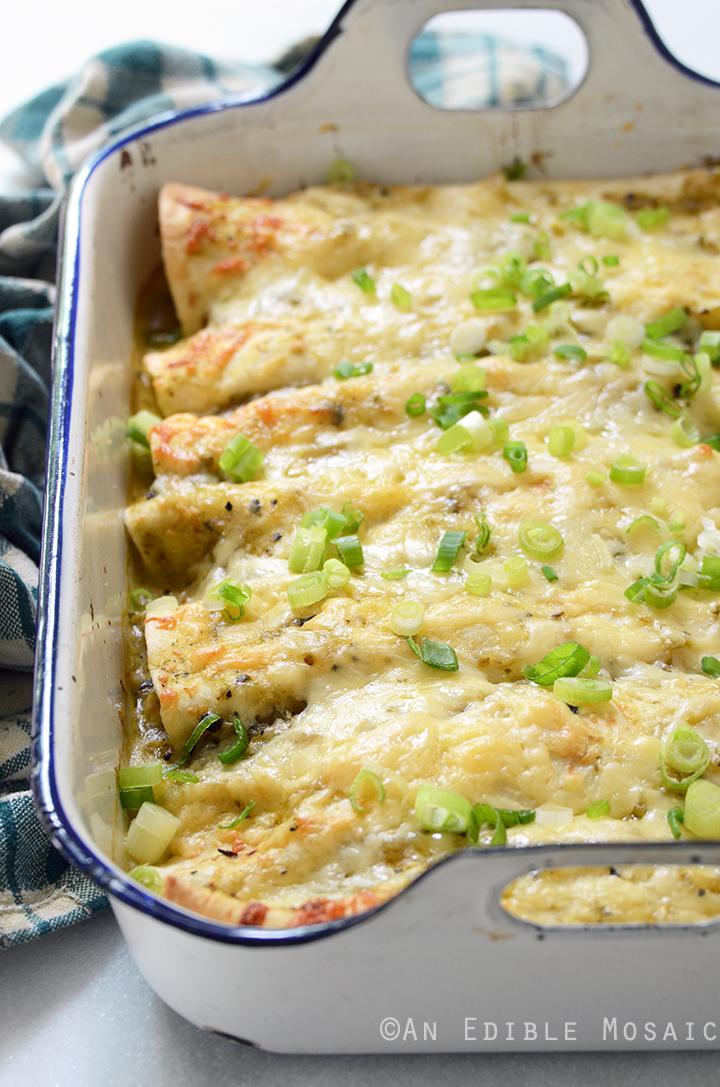 Creamy Chicken and Kale Enchiladas with Salsa Verde 1