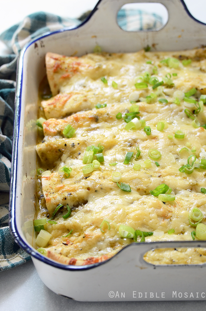 Creamy Chicken and Kale Enchiladas with Salsa Verde 1