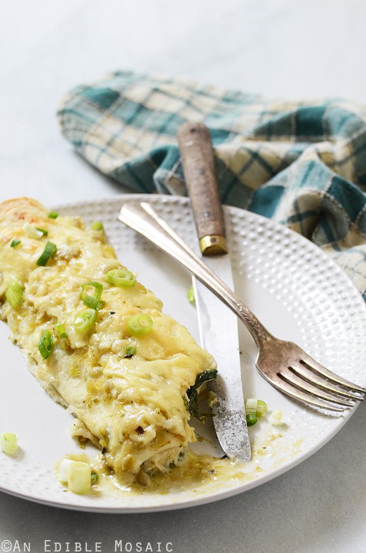Creamy Chicken and Kale Enchiladas with Salsa Verde 3