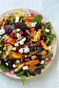 Harissa-Spiced Roasted Root Vegetable Medley Salad with Sweet-Spicy Date Vinaigrette