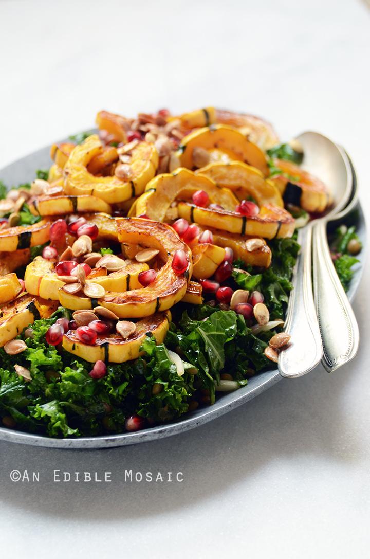 Detox Roasted Delicata Squash, Pardina Lentil, and Kale Salad with Maple-Pear Balsamic Vinaigrette {Vegan} 2