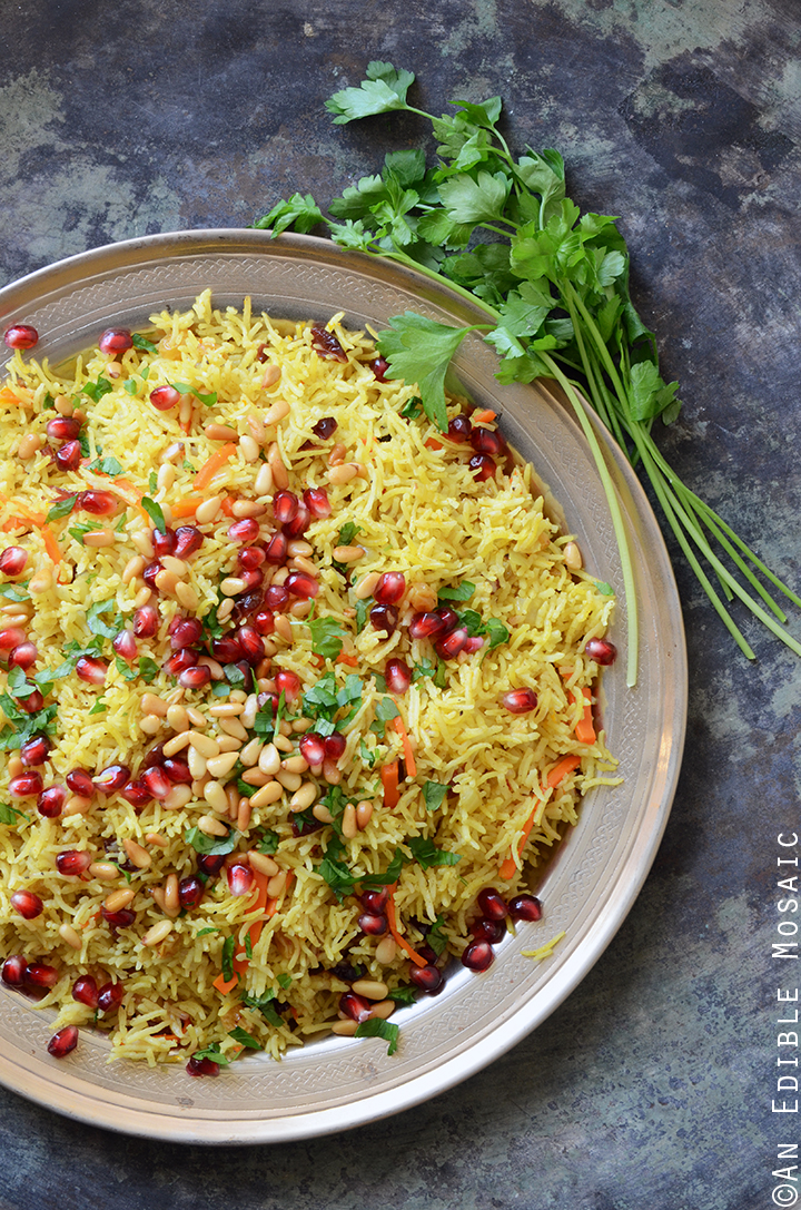 Jewel-Toned Sweet and Savory Basmati Rice Pilaf with Pomegranate 1