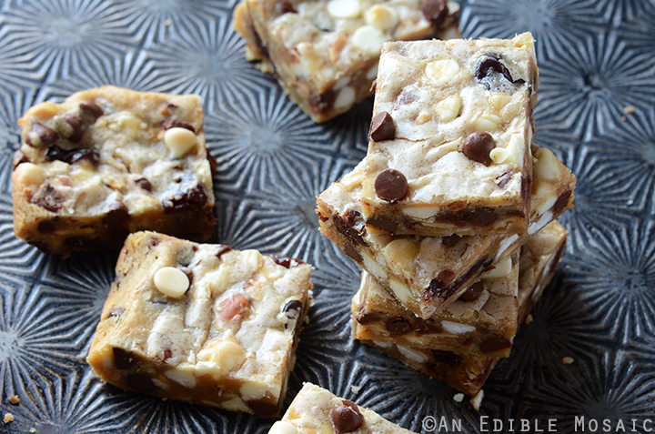 Cherry-Almond Brown Butter Blondies with White and Dark Chocolate Chips 4
