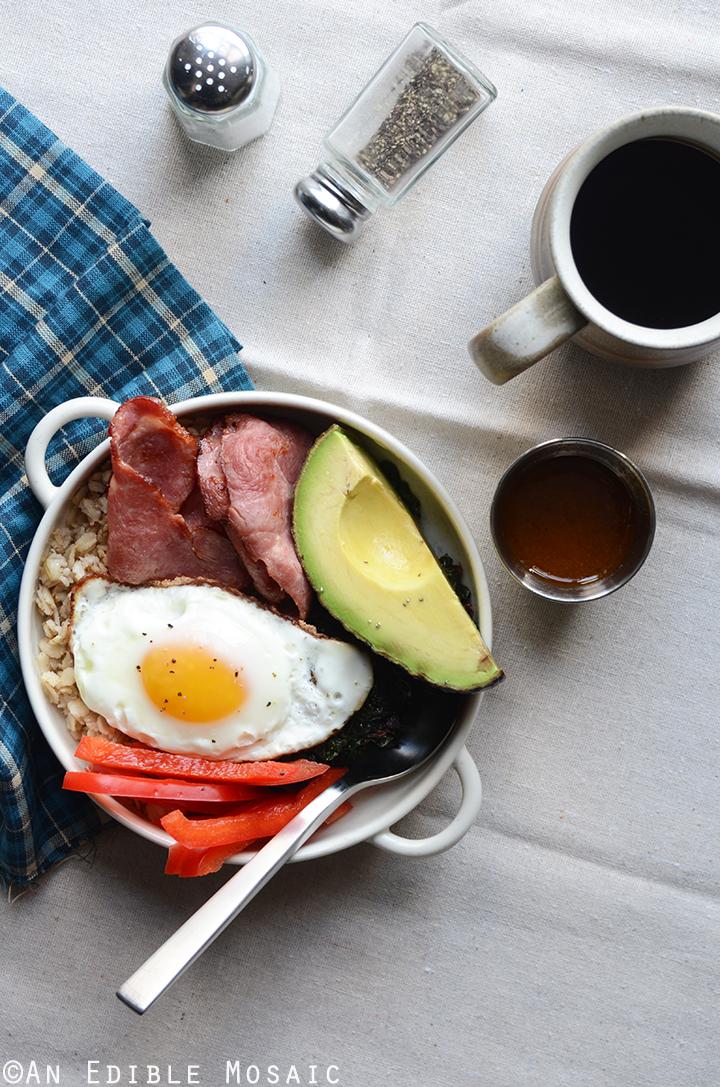 Savory Oatmeal Breakfast Bowls with Smoky Garlic Greens and Chipotle-Honey Vinaigrette 2