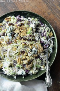 Creamy Coleslaw with Tart Cherries, Blue Cheese, and Toasted Walnuts