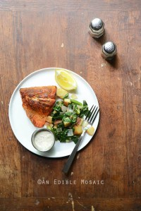 Seared Salmon and Lemon Aioli with Red Potato, Asparagus, and Collard Green Hash