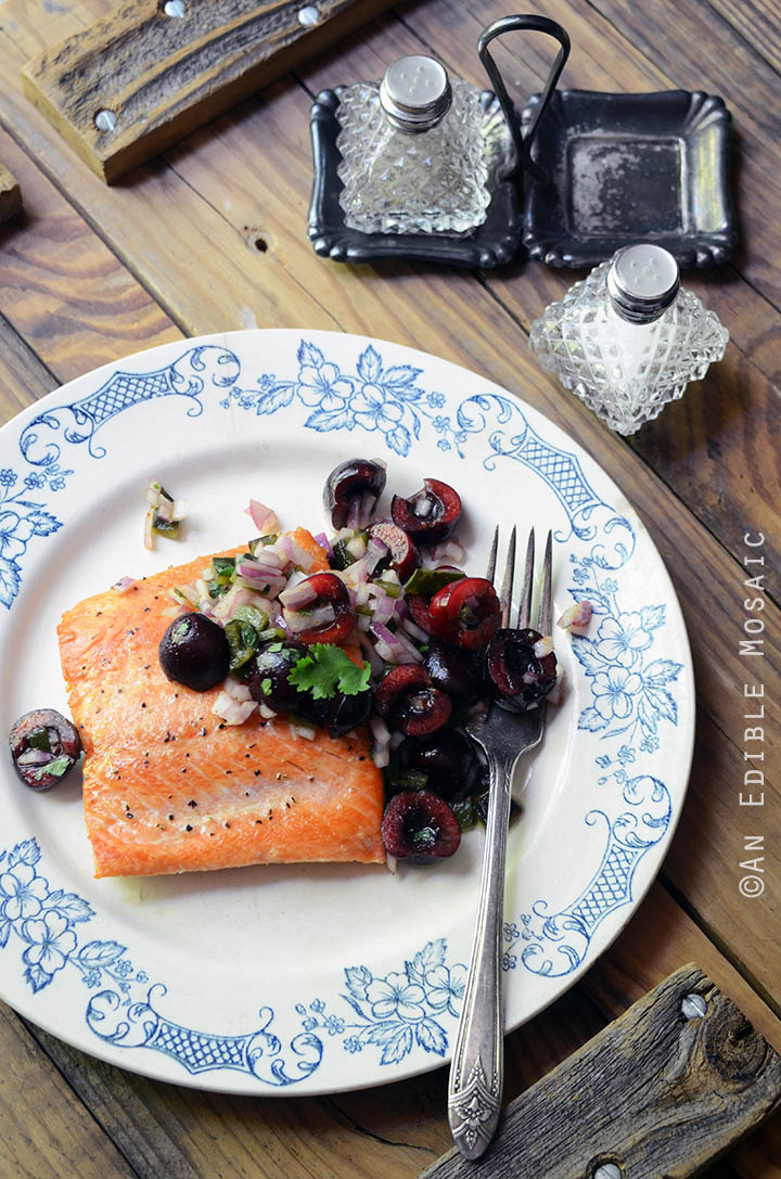 Seared Salmon with Fresh Cherry and Charred Poblano Chopped Salad {Paleo and Whole30} 2