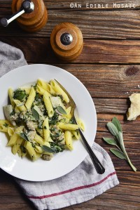 Gluten-Free Penne Pasta with Chicken Sausage, Sage, and Apple Cream Sauce