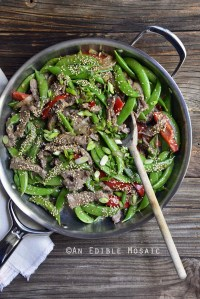 30-Minute Sesame Beef and Snap Pea Stir-Fry Skillet Supper {And Well Fed Weeknights Cookbook Review}