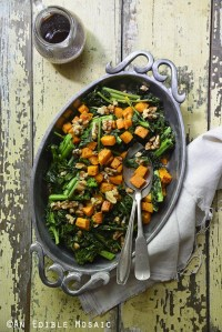 Warm Roasted Sweet Potato and Broccoli Rabe Salad with Cinnamon-Maple Vinaigrette {Vegan; Paleo}