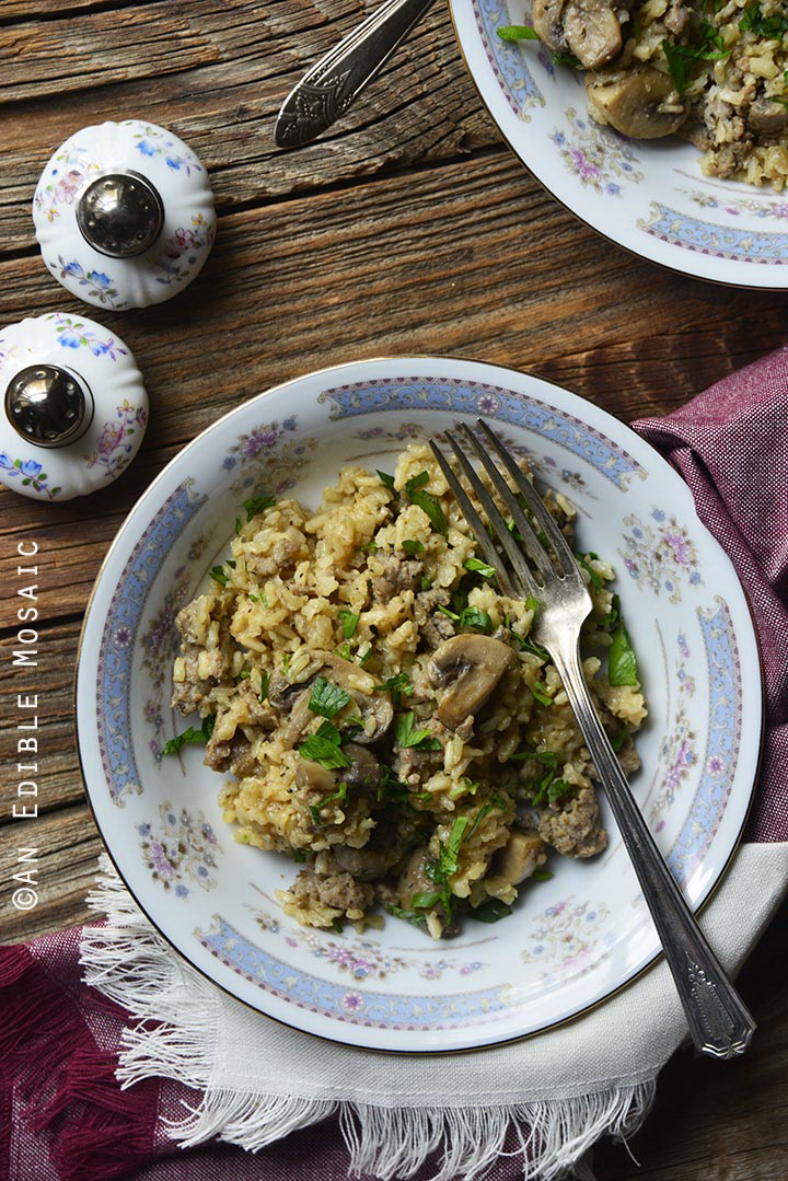 one-pot-brown-rice-pilaf-with-chicken-sausage-mushrooms-and-rosemary-gluten-free-1