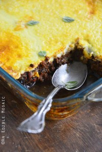 Close Up of Low Carb Beef Eggplant Moussaka Casserole (Gluten Free)