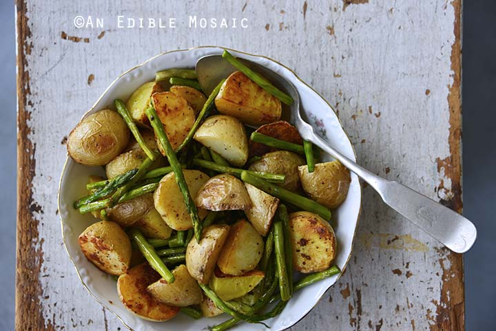 Garlic-Roasted New Potato and Asparagus Salad Top View