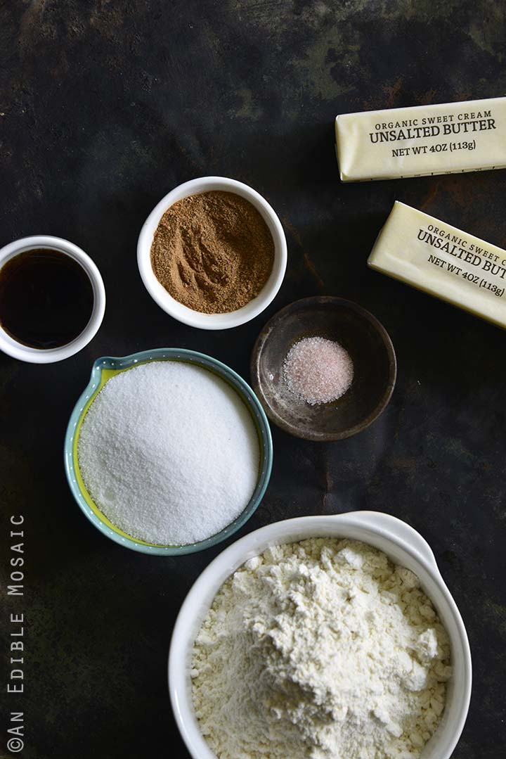 Ingredients for Chai-Spiced Vanilla Shortbread Cookies