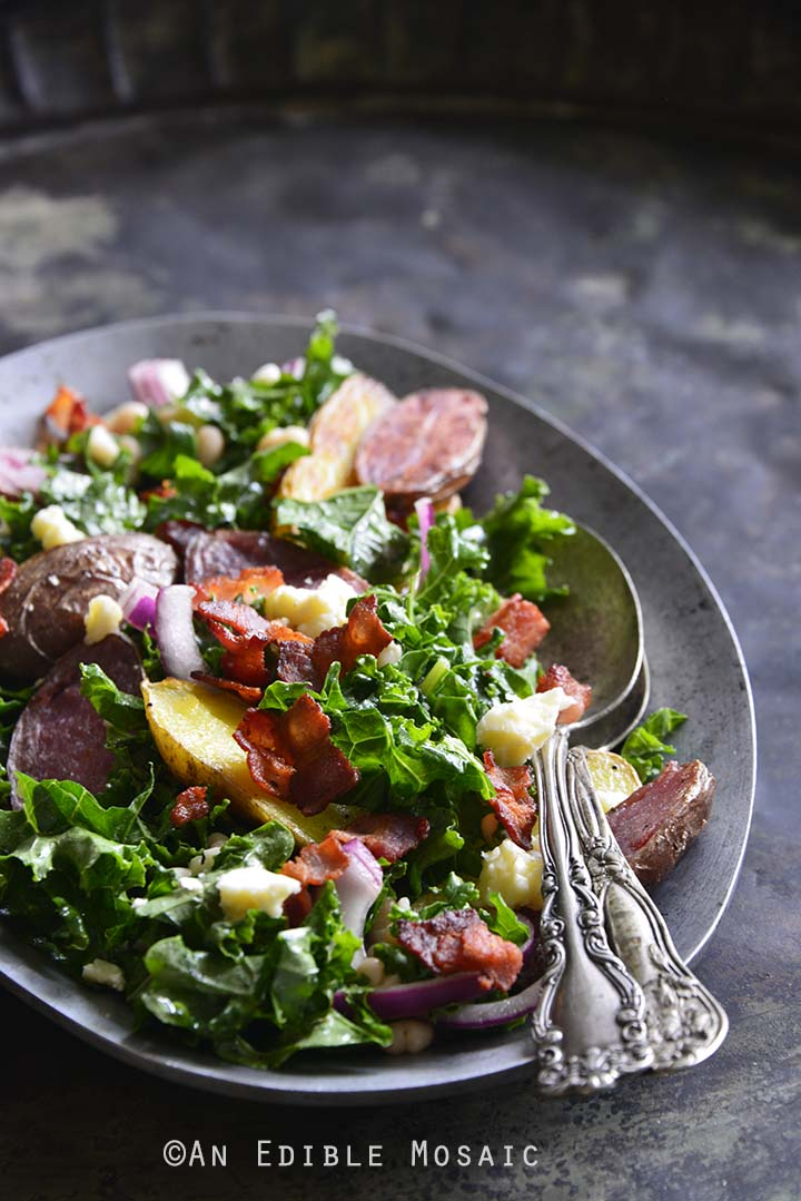 Kale Salad with Roasted Fingerling Potatoes, White Beans, and Warm Bacon Dressing Metal Background Front View Vertical Orientation