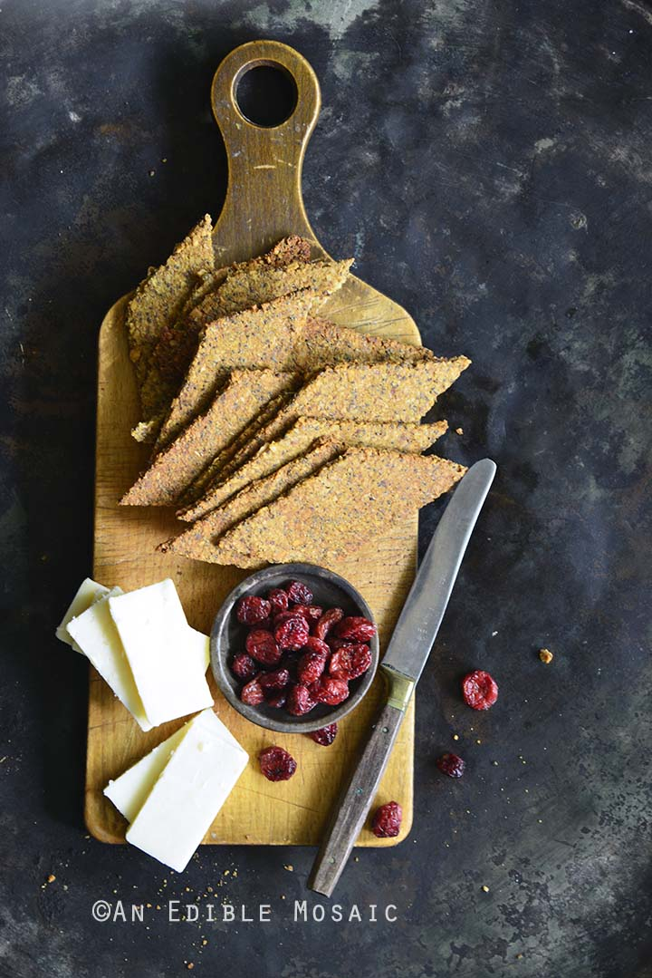 Paleo Nutty Spiced Pumpkin Crackers on Metal Tray