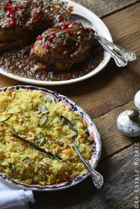 Orange and Toasted Almond Saffron Rice Pilaf with Golden Raisins with Persian-Inspired Cornish Hens