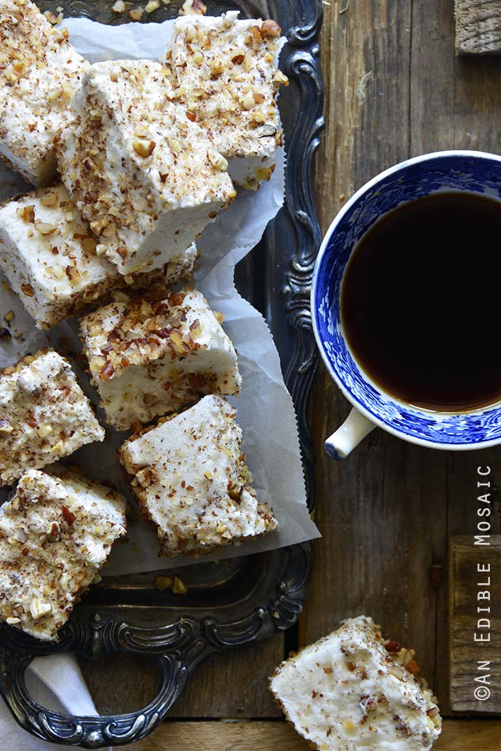 Vanilla Bean and Maple Toasted Pecan Marshmallows on Metal Tray on Wooden Table Close Up