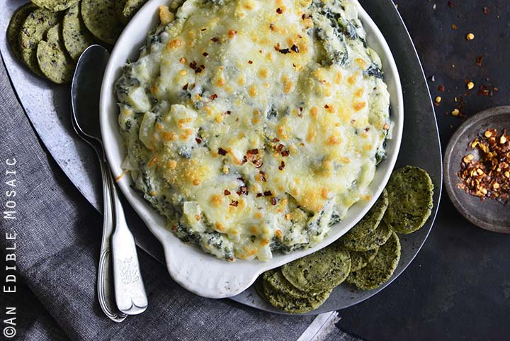 Warm Cheesy Garlic and Kale Dip Top View Horizontal Orientation