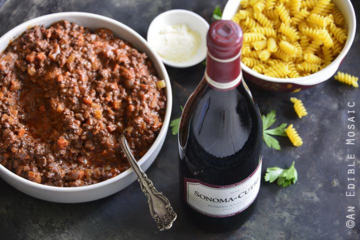 Sonoma-Cutrer with Bolognese and Pasta